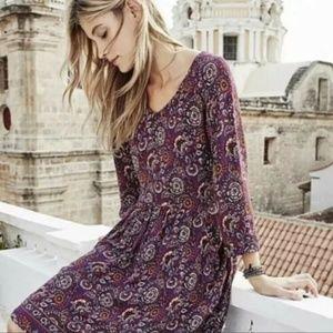 Garnet Hill Pocket Floral Paisley Bohemian Dress